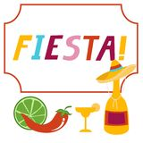 Fiesta banner lettering design. Fiesta hand drawn lettering design  illustration perfect for advertising, poster, announcement, invitation, party, greeting card Royalty Free Stock Photos