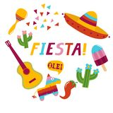 Fiesta banner lettering design. Fiesta hand drawn lettering design vector illustration perfect for advertising, poster, announcement, invitation, party, greeting Royalty Free Stock Images