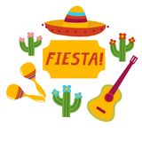 Fiesta banner lettering design. Fiesta hand drawn lettering design vector illustration perfect for advertising, poster, announcement, invitation, party, greeting Stock Images