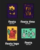 Fiesta icon logo set. Fiesta holiday  logo set. Colorful illustration Stock Images