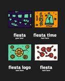 Fiesta icon logo set. Fiesta holiday  logo set. Colorful illustration Stock Photography