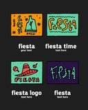 Fiesta icon logo set. Fiesta holiday  logo set. Colorful illustration Stock Image