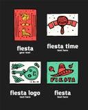 Fiesta icon logo set. Fiesta holiday  logo set. Colorful illustration Royalty Free Stock Photography