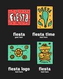 Fiesta icon logo set. Fiesta holiday  logo set. Colorful illustration Stock Photos