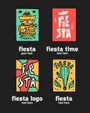 Fiesta icon logo set. Fiesta holiday  logo set. Colorful illustration Royalty Free Stock Photos