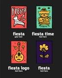 Fiesta icon logo set. Fiesta holiday  logo set. Colorful illustration Royalty Free Stock Photo
