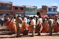Fiesta im bolivianischen Dorf, Anden, Südamerika Lizenzfreie Stockbilder