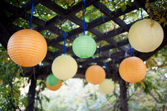 Fiesta lanterns. Colorful cheerful image of Chinese lanters Under the roof of sunshine Royalty Free Stock Images