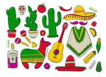 Fiesta and Latin American festivals. A set of elements for design on a theme of mexico. Traditional Spanish objects. Poncho and sambrebo. Guitar and maracas Royalty Free Stock Photography