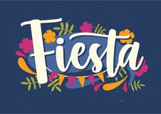 Fiesta lettering handwritten with elegant cursive calligraphic font and decorated with colorful flowers, leaves and flag. Garland. Creative inscription. Bright Stock Photography