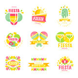 Fiesta logo original design set, labels for a holiday colorful vector Illustrations Stock Photos