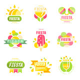 Fiesta logo set, labels for a holiday colorful vector Illustrations Stock Photo