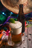 Fiesta: Mexican Beer With A Lime And Bottle royalty free stock photography