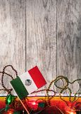 Fiesta: Mexican Flag With Decorations For Cinco Party royalty free stock photos