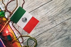 Fiesta: Mexican Flag With Decorations For Cinco Party royalty free stock photo