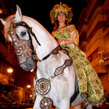 Fiesta Moros and Cristianos. ALICANTE, SPAIN - JUNE 8: Unidentified participants at Fiesta Moros and Cristianos, costume parade on the streets of Alicante, June Stock Photos