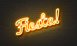 Fiesta neon sign on brick wall background. Fiesta neon sign on brick wall background Royalty Free Stock Photos