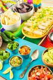 Fiesta buffet table. Fiesta party buffet table with traditional Mexican food