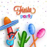 Fiesta Party flyer or banner design with cartoon character of ch. Illi wearing sombrero hat and holding guitar on abstract white background Royalty Free Stock Photo