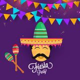 Fiesta party flyer design decorated with man`s face wearing somb. Rero hat on shiny purple background with colorful bunting flags Stock Photography