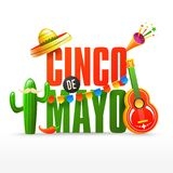 Fiesta party flyer or or poster design for Cinco De Mayo celebration. Fiesta party flyer or or poster design for Cinco De Mayo celebration with sombrero hat and royalty free illustration