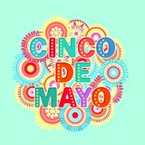Fiesta postcard, abstract flowers, decorative text royalty free illustration