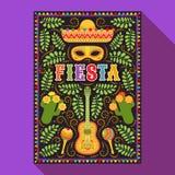 Fiesta postcard, cactus, sombrero, maraca, guitar. Vector fiesta postcard with icons of blossom cactus, sombrero, maraca, guitar and decorative text in ornate Stock Image