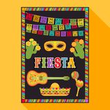 Fiesta postcard, cactus, sombrero, maraca, guitar. Vector fiesta postcard with icons of blossom cactus, sombrero, maraca, guitar, carnival mask and decorative stock illustration