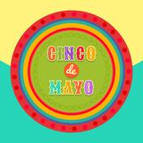 Fiesta postcard, colorful text, circle frame. Vector fiesta postcard with colorful decorative text in circle frame. Event vector illustration with Cinco de Mayo Royalty Free Stock Photography