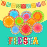 Fiesta postcard, paper fans, lace, decorative text. Vector fiesta postcard with paper fans, lace flags and colorful decorative text. Event vector illustration stock illustration