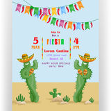 Fiesta poster template with smiling cacti in sombreros. Text customized for party invitation. Colorful flags and desert mexican landscape. Flat style vector Royalty Free Stock Images