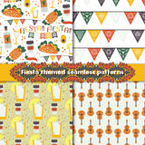 Fiesta seamless patterns set with traditional Mexican symbols Stock Photography