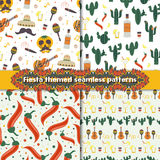 Fiesta seamless patterns set with traditional Mexican symbols Royalty Free Stock Photos