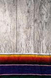 Fiesta: Simple Serape Border On Weathered Wood Background. A series of background images for Cinco De Mayo fiesta celebrations. Margaritas, tacos, serape, lights