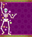 Fiesta Skeleton. Festive skeleton and flowers on a colorful patterned background - great for Dia de los Muertos Royalty Free Stock Photo