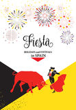 Fiesta Spain. Spain fiestas or festivals abstract poster. Spanish San Fermin Festivals, wallpaper. The running of the bulls is the main attraction in this famous Royalty Free Stock Images