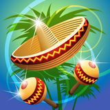 Fiesta time. Vector illustration of mexican carnival hat and maracas Stock Images