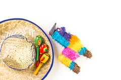 Fiesta. Traditional colorful table decorations for celebrating Fiesta Royalty Free Stock Image