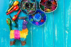 Fiesta. Traditional colorful table decorations for celebrating Fiesta Stock Images