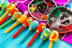 Fiesta. Traditional colorful table decorations for celebrating Fiesta Stock Image