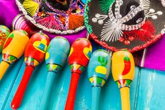 Fiesta. Traditional colorful table decorations for celebrating Fiesta Stock Photography
