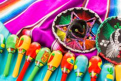 Fiesta. Traditional colorful table decorations for celebrating Fiesta Stock Photo