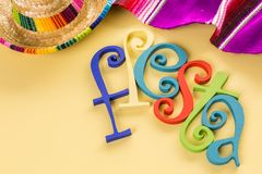 Fiesta. Traditional colorful table decorations for celebrating Fiesta Royalty Free Stock Images