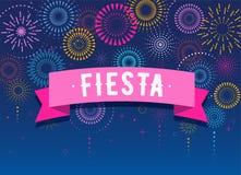 Fiesta, Vuurwerk en vieringsachtergrond, winnaar, het ontwerp van de overwinningsaffiche royalty-vrije illustratie