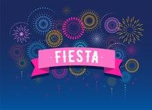 Fiesta, Vuurwerk en vieringsachtergrond, winnaar, het ontwerp van de overwinningsaffiche stock illustratie