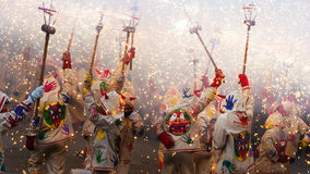 Fiestas de Mayo - show with fireworks Royalty Free Stock Photography