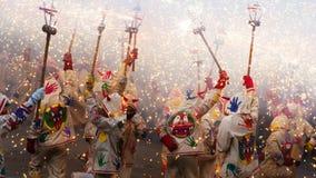 Fiestas de Mayo - visa med fyrverkerier Royaltyfri Fotografi