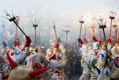 Fiestas de Mayo - visa med olika fyrverkerier Royaltyfria Bilder