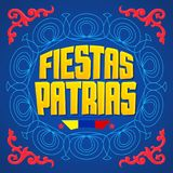 Fiestas Patrias, National Holidays spanish text, Colombia theme patriotic celebration banner. Colombian flag color - eps available Stock Images