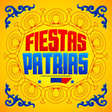 Fiestas Patrias - National Holidays spanish text, Colombia theme patriotic celebration banner Stock Image